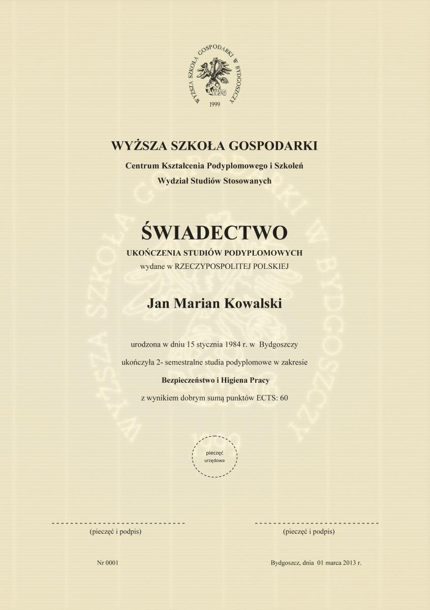 Studia podyplomowe Świadectwo ukończenia - Słupsk